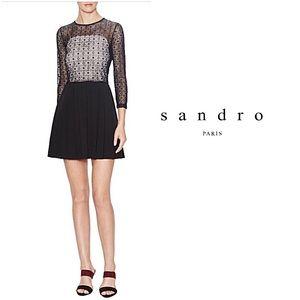 Sandro Paris Reservee Lace Bodice Pleated Dress